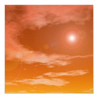Sun in the orange sunset sky background - 3D rende Card