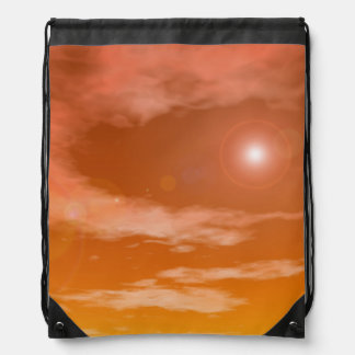 Sun in the orange sunset sky background - 3D rende Drawstring Bag