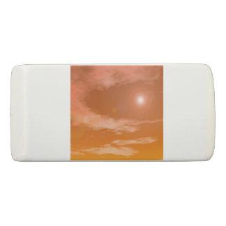 Sun in the orange sunset sky background - 3D rende Eraser