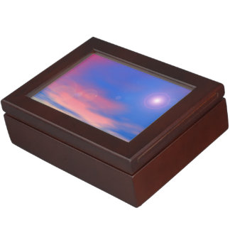 Sun in the sunset sky background - 3D render Keepsake Box