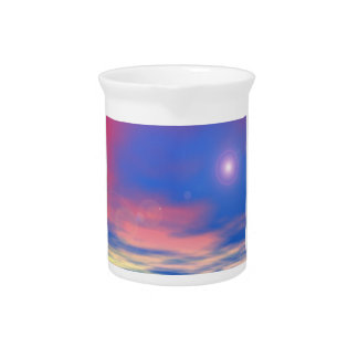 Sun in the sunset sky background - 3D render Pitcher