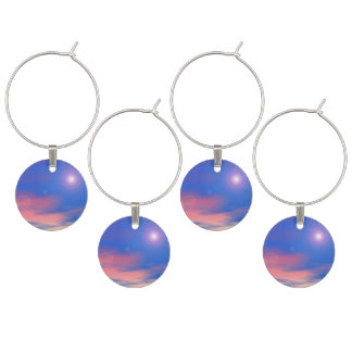 Sun in the sunset sky background - 3D render Wine Glass Charms