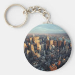 Sun Is Setting On New York City City-scape View Basic Round Button Key Ring