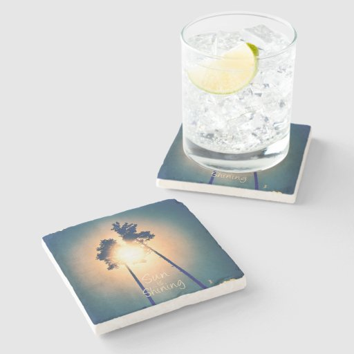 Sun is shining stone beverage coaster