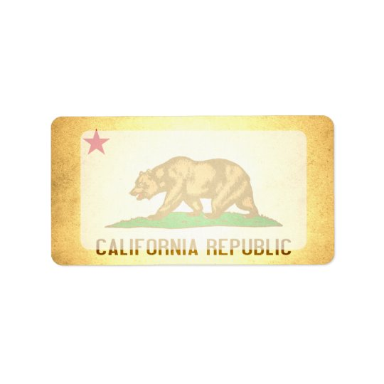 Sun kissed California Flag Address Label