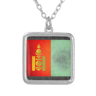Sun kissed Mongolia Flag Silver Plated Necklace