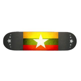 Sun kissed Myanmar Flag Skate Board Deck