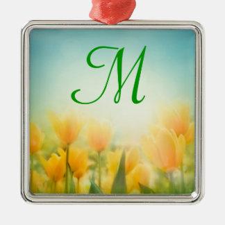 Sun Kissed Yellow Tulips Monogram Initial Ornament