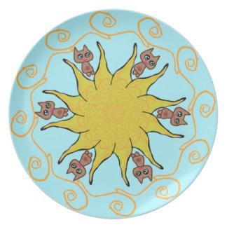 Sun Kitty Cat Plate