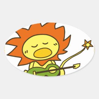 Sun lion oval sticker