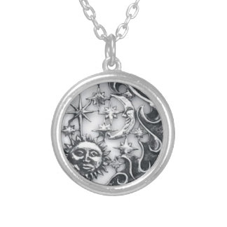 SUN MOON AND STARS SILVER PLATED NECKLACE