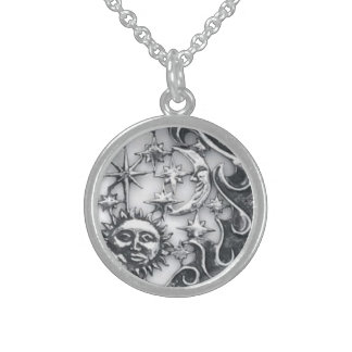 SUN MOON AND STARS STERLING SILVER NECKLACE