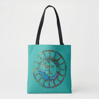 Sun & Moon - blue green + your backgr. Tote Bag