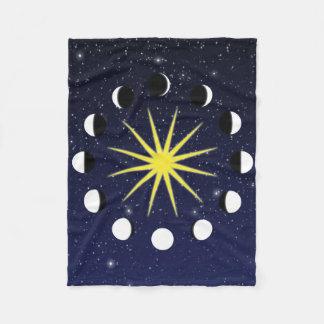 Sun, Moon Phases, and Stars Fleece Blanket