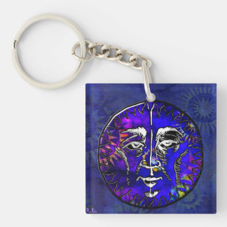 Sun Moon Prayer New Age Folk Double-Sided Square Acrylic Key Ring