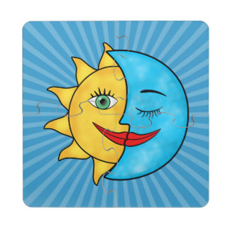 Sun Moon Rainboow Celestial theme Puzzle Coaster
