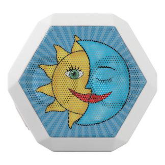 Sun Moon solar rays Celestial theme White Boombot Rex Bluetooth Speaker