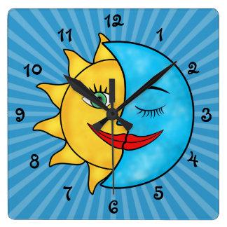 Sun Moon Square Wall Clock