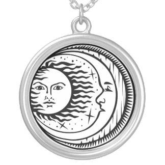 Sun, moon & stars necklace - black & white