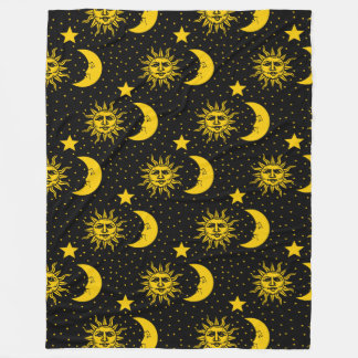 Sun Moon Stars Pattern Fleece Blanket