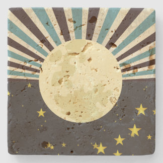 Sun & Moon Travertine Coaster Stone Beverage Coaster