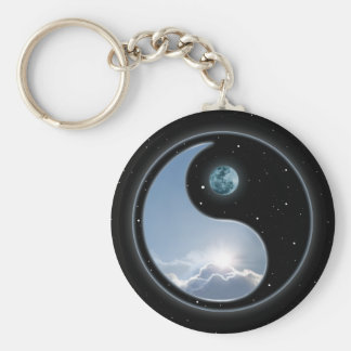 Sun-Moon Yin-Yang Basic Round Button Key Ring