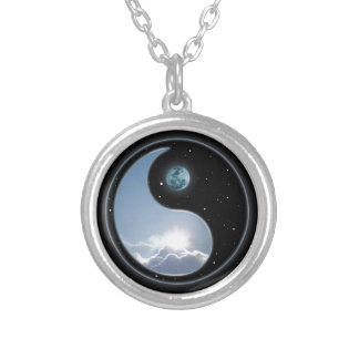 Sun-Moon Yin-Yang Round Pendant Necklace
