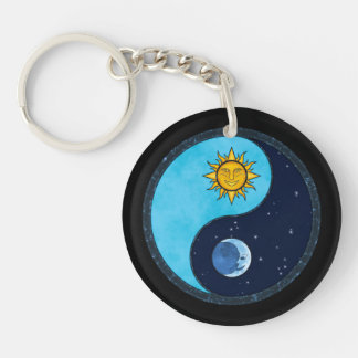 Sun Moon Yin Yang Symbol Double-Sided Round Acrylic Key Ring