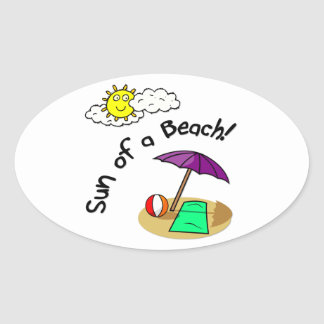 Sun of a Beach Oval Stickers