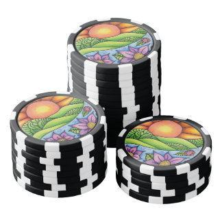 Sun Over Hills Stream and Flowers Poker Chips