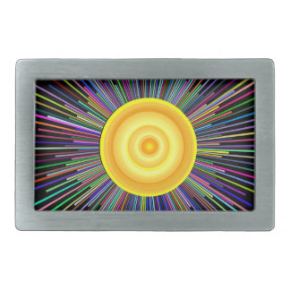 Sun Over The Moon Rainbow Fractal Rectangular Belt Buckles