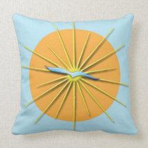 Sun Rays and Bird Cotton Throw Pillow