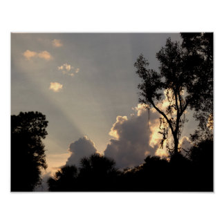 Sun Rays at Sunset - Sky photo Poster