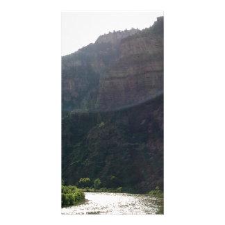 Sun Rays Kiss the sky over the mountains & stream Customized Photo Card