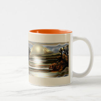 Sun Rise On the Desert Southwestern Abstract Art Two-Tone Coffee Mug