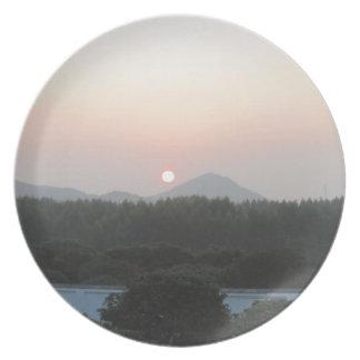 sun rise sun set party plate