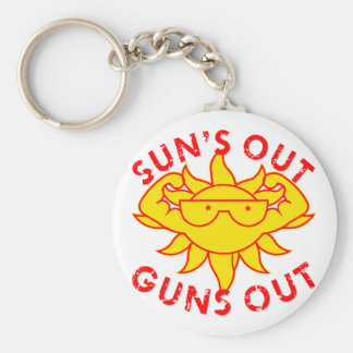 Sun's Out Guns Out Body Building Strength Training Basic Round Button Key Ring