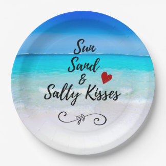 Sun Sand and Salty Kisses Tropical Beach Paper Plate