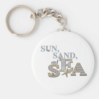 Sun Sand Sea Basic Round Button Key Ring