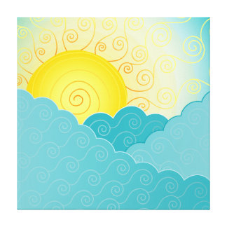 Sun Sea Artistic Illustration Stretched Canvas Print