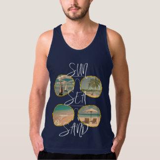 Sun Sea Sand Sun Shades Fun Vacation Graphic Singlet
