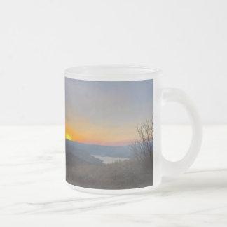 sun set frosted glass coffee mug