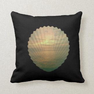 Sun set in sea shell on throw pillow