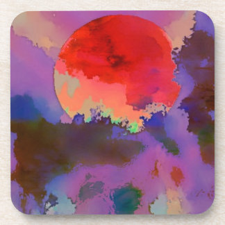 Sun set in the trees beverage coaster