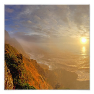 Sun sets over the Pacific Ocean from Heceta Photo Print