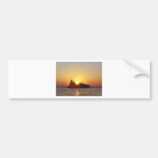 Sun Setting Behind A Container Ship Bumper Sticker