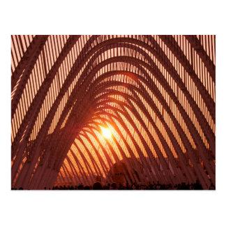Sun Setting Behind Bridge Postcard