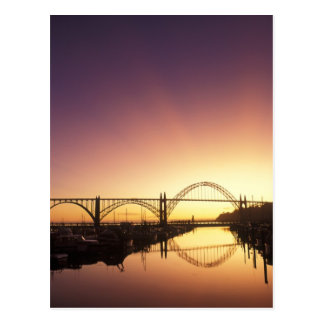 Sun setting behind the Newport Bridge, Oregon Postcard