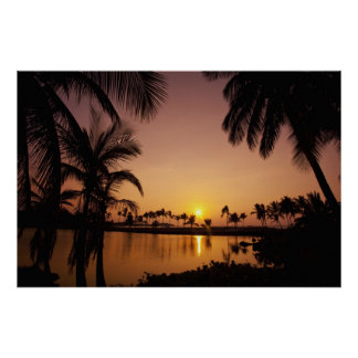Sun setting on Anaeho'omalu Bay, Big Island, Poster