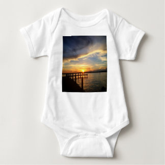 Sun Setting on the Gulf of Mexico from the Dock Baby Bodysuit